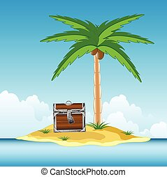 Coffer on island - The Coffer with treasure on desert...