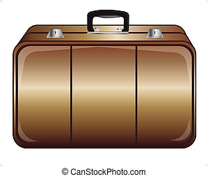 Gray valise - Road valise for things on white background is...