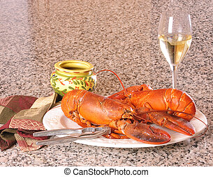 Lobster and wine, a satisfying meal on a white plate sitting...
