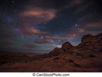 Beautiful Night Starry sky with Rising Milky Way Valley of...
