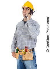 worker talking on the phone - Construction worker talking on...