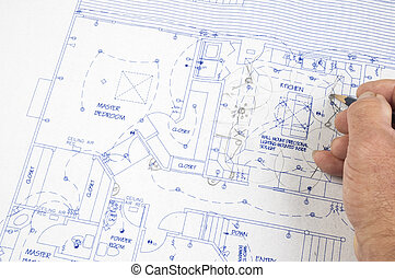Architect making changes to plans - Architect making changes...