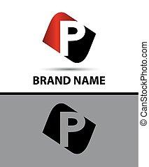 Letter p Vector elegant alphabet