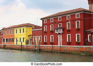 Burano, Italy houses - Colorful fishermens houses along the...