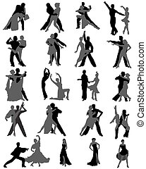 Dance - Silhouettes of the dancing couples, different styles...