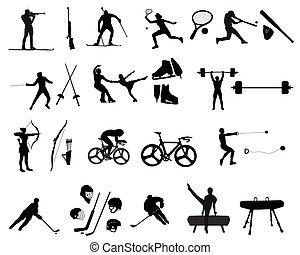 sport - Silhouettes of athletes on trainings and...