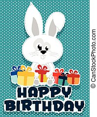 Birthday card illustrated bunny