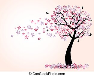 The silhouette of cherry trees and butterfly vector -...