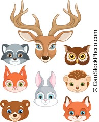 set forest animals - A set of forest animals, the animals...