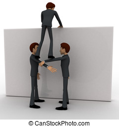 3d two men help another man to climb up wall concept on...