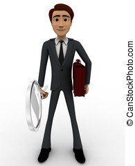 3d man with magnifying glass and briefcase concept