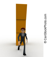 3d man running from falling cube building concept