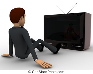 3d man watching old antenna television concept