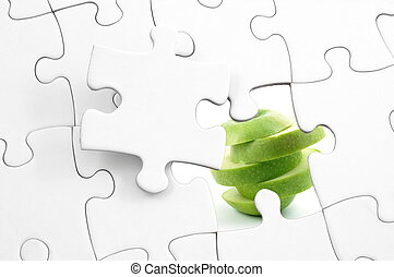puzzle and apple