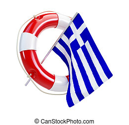 Life Buoy flags of Greece on a white background