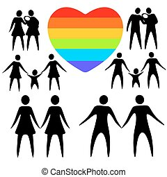 gay family set - Gay couples and rainbow heart on a white...