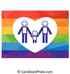 gay family symbol - Gay couple and child on a rainbow...