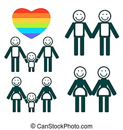 gay family symbols set - Gay couples and hearts hearts on a...