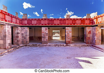 Quetzalpapalol Palace  Ancient Paintings Murals Ruins Teotihuacan Mexico City Mexico