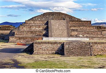 ciudad, pirámide, quetzalcoatl, México, Teotihuacan, templo...
