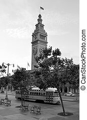 San Francisco Ferry Building with PCC streetcar - SAN...