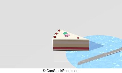 Runaway cake jumping on a table - Cake slice jumping and...