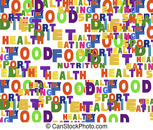 Conceptual image of tag cloud containing words related to...