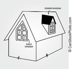 図, の, 屋根窓, そして, 切妻, 窓,