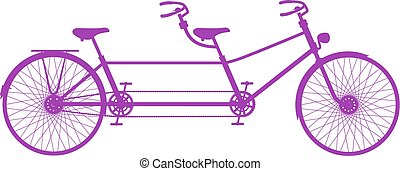 Retro tandem bicycle in purple design on white background