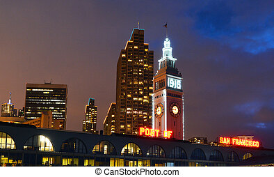 San Francisco Ferry Building at night - SAN FRANCISCO - MAY...