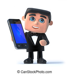 3d Bow tie has a smartphone - 3d render of a man in a tuxedo...