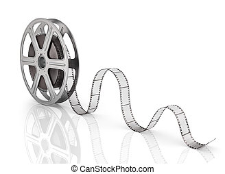 Motion picture film reel on the white background