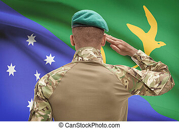 Dark-skinned soldier with flag on background - Christmas...