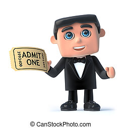 3d Bow tie spy has a ticket for the show - 3d render of a...