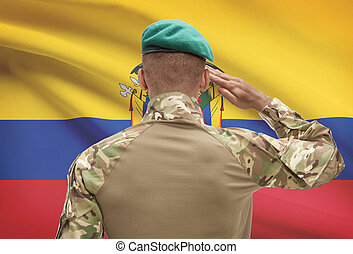 Dark-skinned soldier with flag on background - Ecuador -...