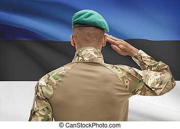 Dark-skinned soldier with flag on background - Estonia -...