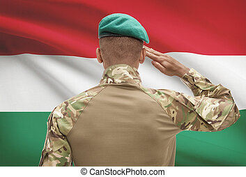 Dark-skinned soldier with flag on background - Hungary -...