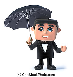 3d Bow tie spy under an umbrella - 3d render of a man in a...