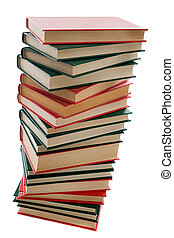 Tower of books on a white background