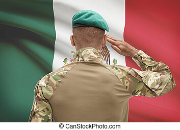 Dark-skinned soldier with flag on background - Mexico -...
