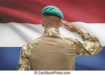 Dark-skinned soldier with flag on background - Netherlands -...