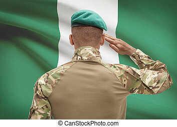 Dark-skinned soldier with flag on background - Nigeria -...