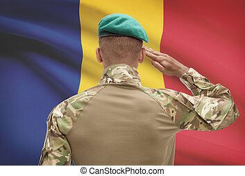Dark-skinned soldier with flag on background - Romania -...