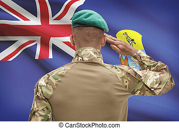 Dark-skinned soldier with flag on background - Saint Helena...