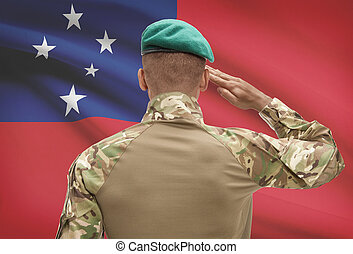 Dark-skinned soldier with flag on background - Samoa -...