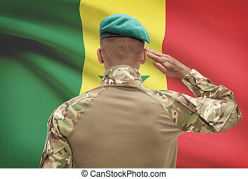 Dark-skinned soldier with flag on background - Senegal -...