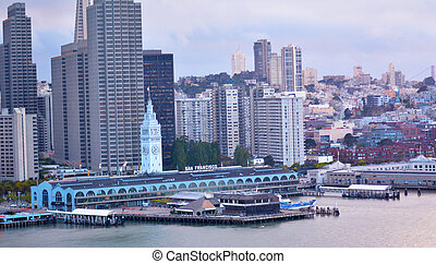 San Francisco Ferry Building with SF financial center...