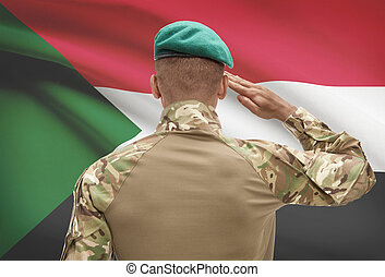 Dark-skinned soldier with flag on background - Sudan -...