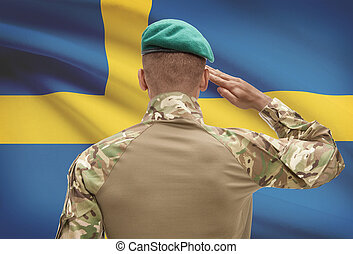 Dark-skinned soldier with flag on background - Sweden -...