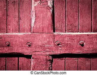 Detail of an old wooden gate